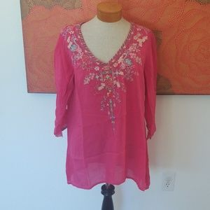 Beautiful pink embroidered sheer tunic